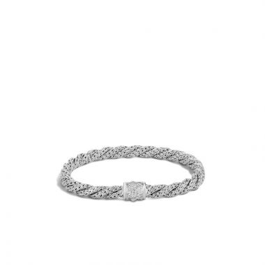 John Hardy Silver Twist Chain Women's Diamond Woven Bracelet