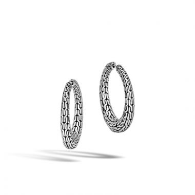 John Hardy Silver Classic Chain Women's Hoop Earrings