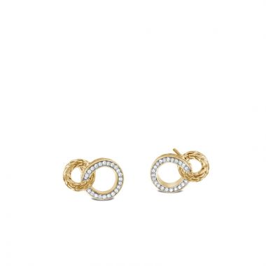John Hardy 18k Gold Classic Chain Women's Diamond Drop Earrings