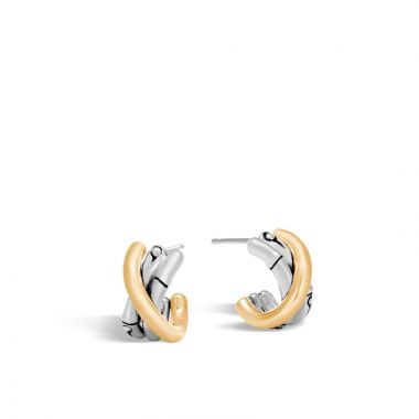 John Hardy Silver & Gold Bamboo Women's J Hoop Earrings