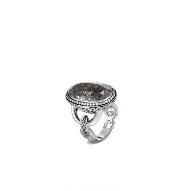 John Hardy Silver Classic Chain Women's Diamond, Gemstone Center Stone Ring