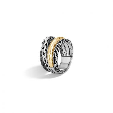 John Hardy Silver & Gold Classic Chain Women's Ring