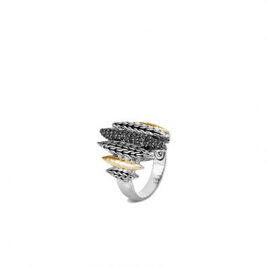 John Hardy Silver & Gold Classic Chain Women's Gemstone Ring