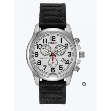 Mens Citizen Eco-Drive Military Watch with Black Strap AT0200-13A