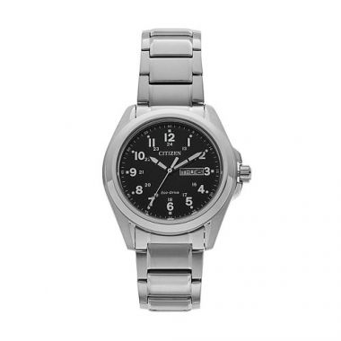 Mens Citizen Eco-Drive Stainless Steel Watch with Black Dial AW0050-82E