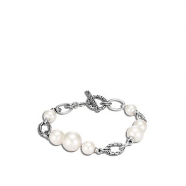 WOMEN's Classic Chain Silver Bracelet with Toggle Clasp and Fresh Water Pearl