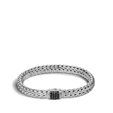 WOMEN's Classic Chain Silver Lava Medium Bracelet with Black Sapphire