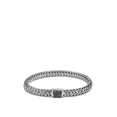 WOMEN's Classic Chain Silver Lava Small Bracelet with Black Sapphire