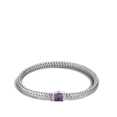 Women's Classic Chain Silver Lava Extra Small Bracelet 5mm with Amethyst
