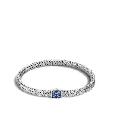 WOMEN's Classic Chain Silver Lava Extra-Small Bracelet with Blue Sapphire