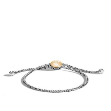 John Hardy WOMEN's Classic Chain Hammered 18k Gold and Silver Pull Through Bracelet, Size M Adjustable to L BG