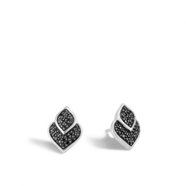 Women's Legends Naga Silver Stud Earrings with Black Sapphire and Black Spinel