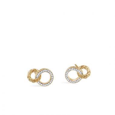John Hardy WOMEN's Classic Chain 18K Gold Diamond Pave Interlinking Stud Earrings