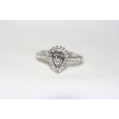 Nelson Pear Halo Engagement Ring
