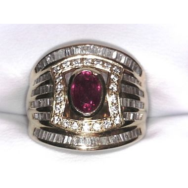Estate 18KY Ruby and Diamond Wideband Ring