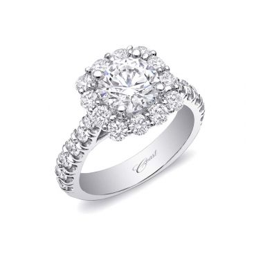 Coast Diamond 14k White Gold Cushion Halo Engagement Ring