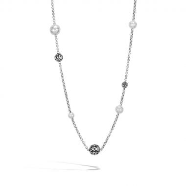 WOMEN's Classic Chain Hammered Silver Sautoir Necklace, Size 36