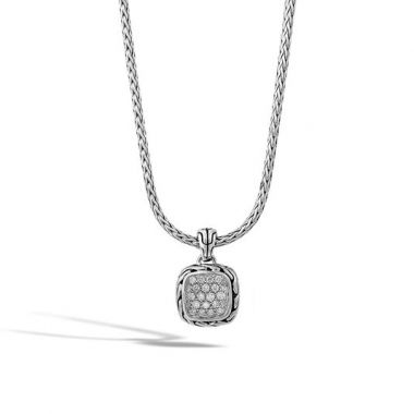 WOMEN's Classic Chain Silver Diamond Pave Square Pendant- on Chain Necklace with Diamond