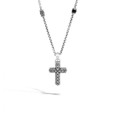 MEN's Classic Chain Rugged Silver Cross Pendant