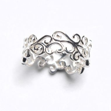 Sterling Silver Open Scroll Band Ring Size 6