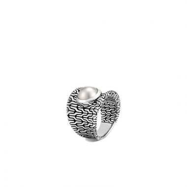 WOMEN's Classic Chain Silver Ring with Fresh Water Pearl