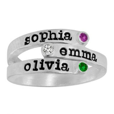 BirthStone Name Ring
