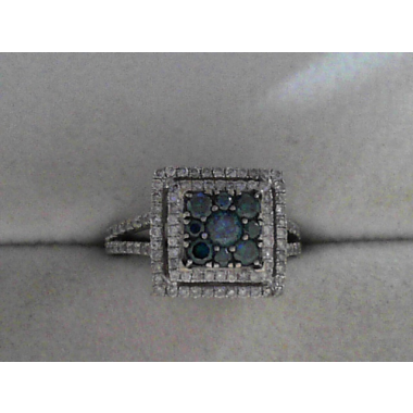 Estate Ladies Double Halo Cluster-style Split-shank Ring